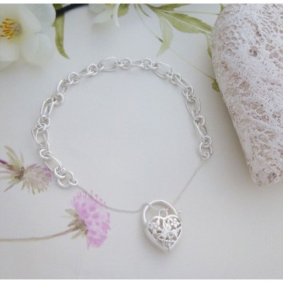Ladies sterling silver Heart Bracelet