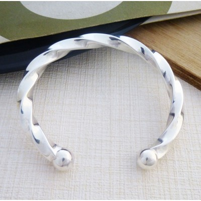 Men's large chunky solid silver torque