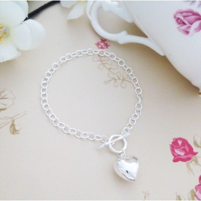 Heart Wishbone T Barsterling silver Bracelet