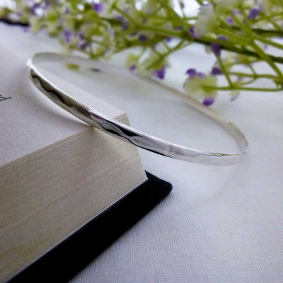 Christelle Hammered Slave Bangle in sterling silver