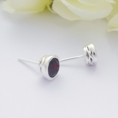 Garnet Studs with Galleried edges