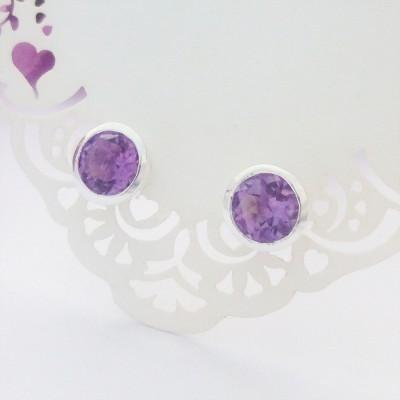Amethyst Studs with Galleried Edge
