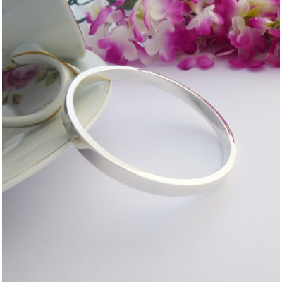 Anna engraved bangle, chunky solid sterling silver with polished interior