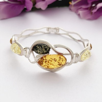 Amber stoned silver bangle