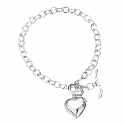 Heart Wishbone T Barsterling silver Bracelet