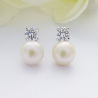 Classic Freshwater Pearl CZ Studs