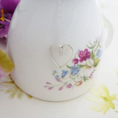 Daisy Silver Heart Necklace