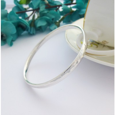 Edie large sized hand hammered solid silver bangle