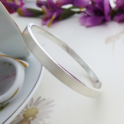 Elsa extra large silver bangle with name engraved