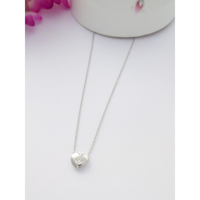 Sterling silver heart pendant with white stone centre and necklace chain georgini esme silver heart pendant necklace mozeypictures Gallery