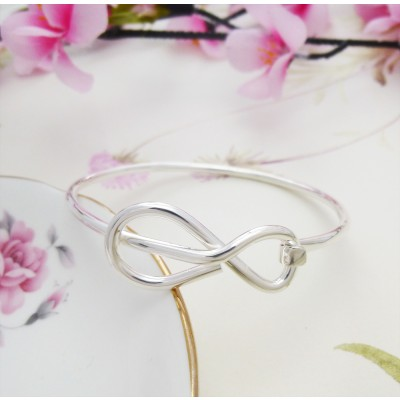 Eternity hoop silver bangle
