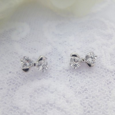 Sterling Silver CZ Bow Studs