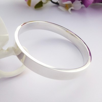 Isla large solid silver bangle plain engraved