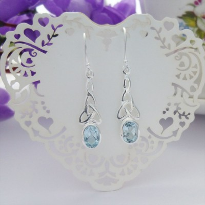Blue Topaz Celtic Drop Earrings