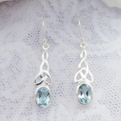 Blue Topaz Celtic Drop Earrings
