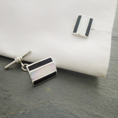 London Onyx Stripe Cufflinks