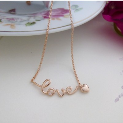 Rose Gold 'Love' Necklace