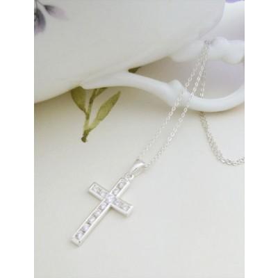 Mary CZ Silver Cross