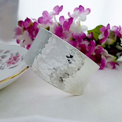 Wide Hammered Silver Torque bangle
