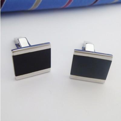 Munich Silver and Onyx Cufflinks