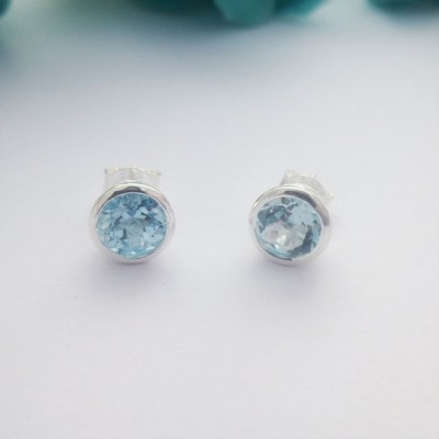 Blue Topaz Sterling Silver Studs