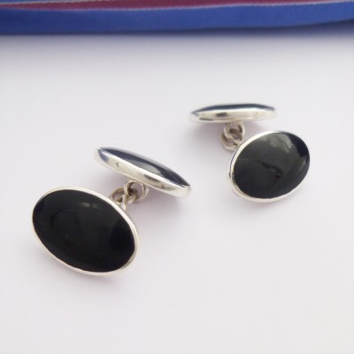 Paris Double Oval Onyx Cufflinks