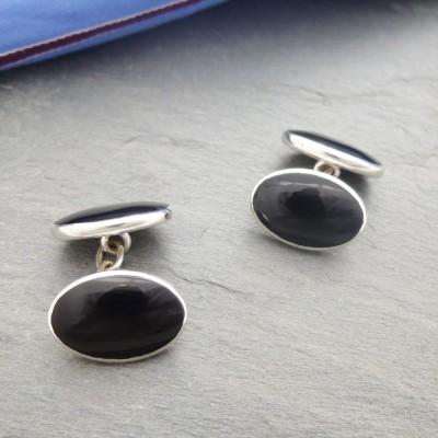 Paris Double Oval Onyx Cufflinks