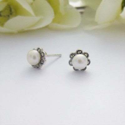 Pearl & Marcasite Flower Studs