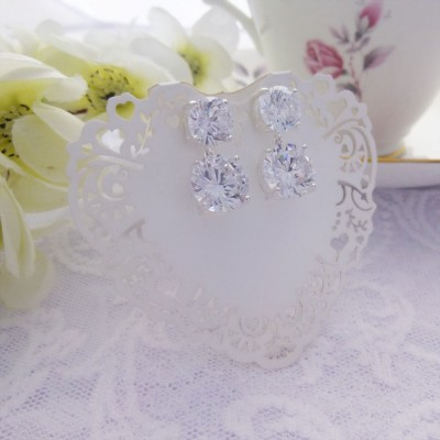 Large CZ Drop and Stud Earrings