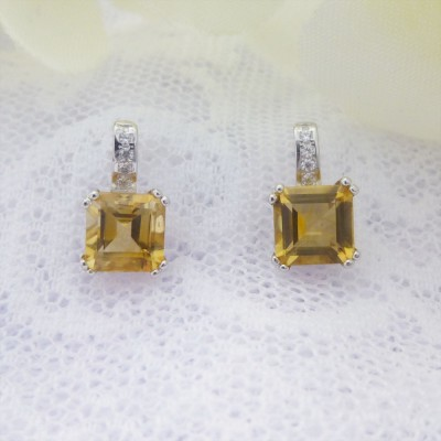 Square Citrine and CZ Studs