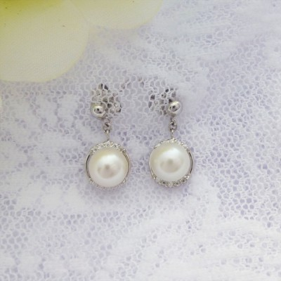 Cubic Zirconia and Freshwater Pearl Drop Earrings