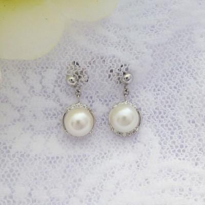 Cubic Zirconia and Freshwater Pearl Drop Earrings