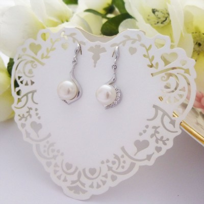 Freshwater Pearl and CZ Swirl Drop Earrings