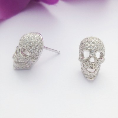 CZ Encrusted Silver Skull Studs