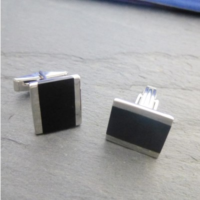 Munich Silver and Onyx Cufflinks