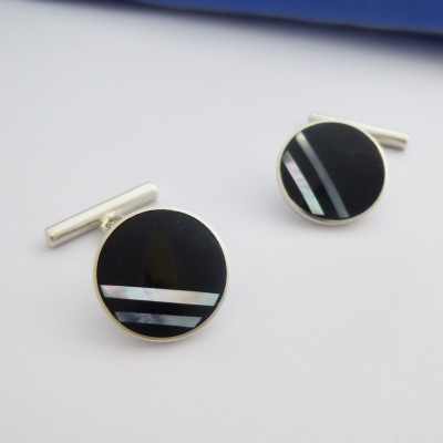 Rio Mother of Pearl and Onyx Stripes Cufflinks