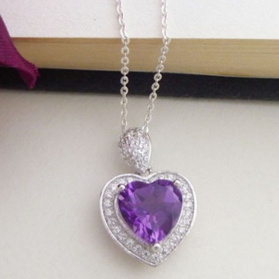 Amore Amethyst Heart Pendant Necklace