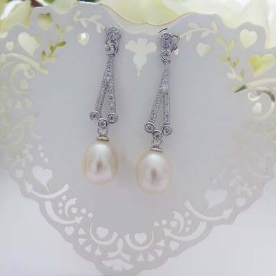 Vintage CZ & Freshwater Pearl Drop Earrings