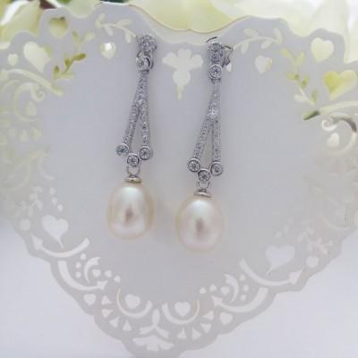 Vintage CZ & Freshwater Pearl Drop Earrings