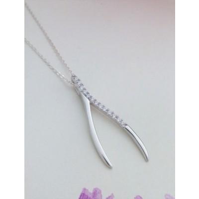 Asha CZ Wishbone Pendant Necklace