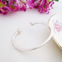 Ladies Silver Torque Bangle