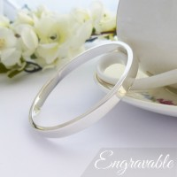 Anna Large Solid Silver Bangle - Personalised