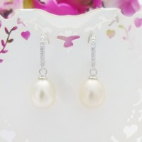 CZ Hoop & Freshwater Pearl Drop Earrings