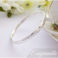 Edie Large Hammered Solid Bangle