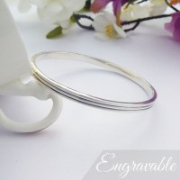 Phoebe Large Double Grooved Bangle