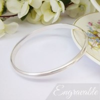 Phoenix Large Solid Silver Bangle