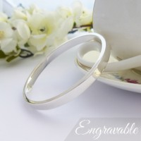 Anna Solid Silver Bangle - Personalised