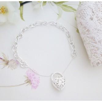 Ladies sterling silver Heart Bracelet