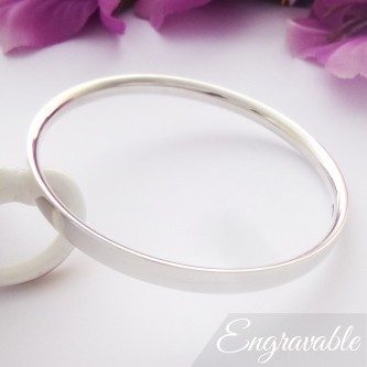 Darla engraved silver bangle bracelet