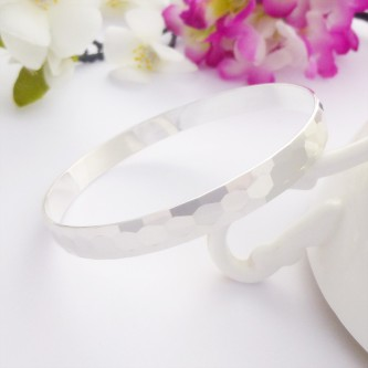 Honey hexagon silver bangle